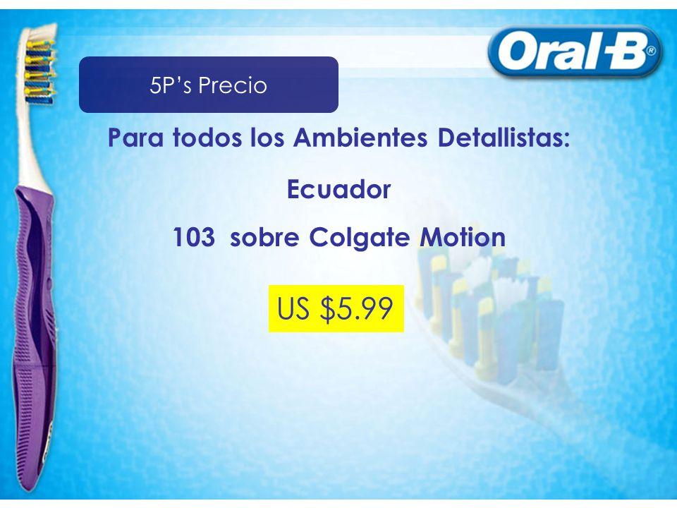 Para todos los Ambientes Detallistas: 103 sobre Colgate Motion US $5.99 Ecuador 5Ps Precio