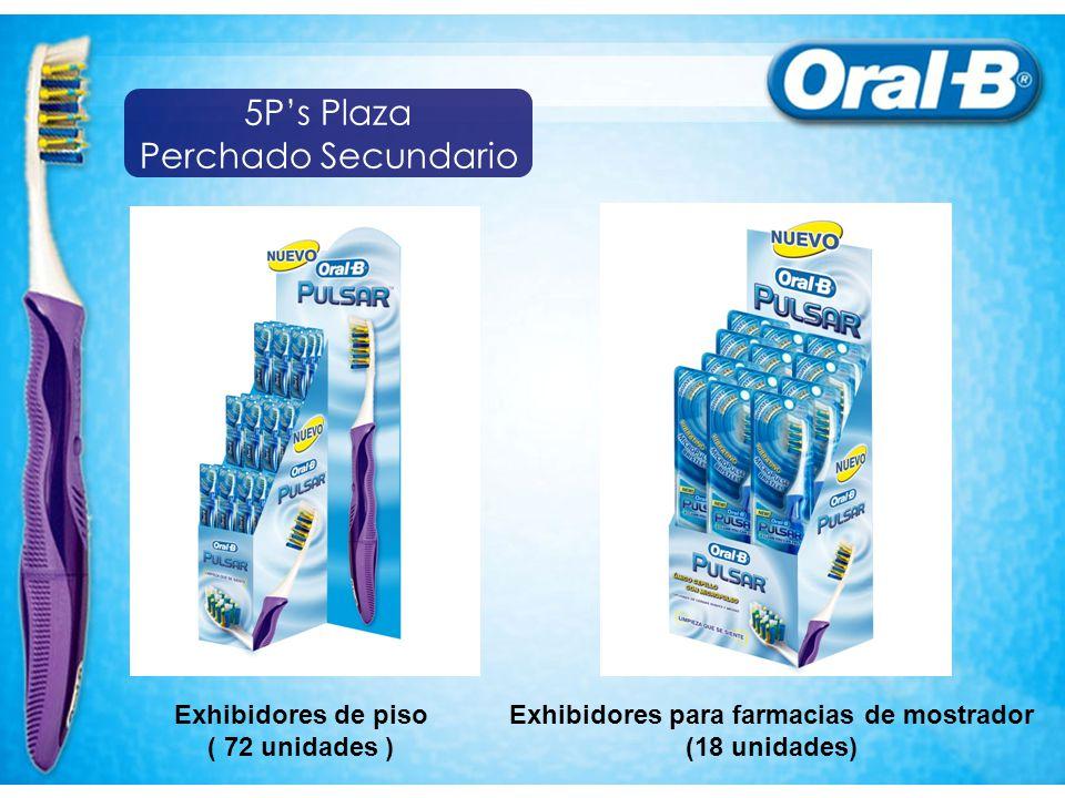 Exhibidores de piso ( 72 unidades ) Exhibidores para farmacias de mostrador (18 unidades) 5Ps Plaza Perchado Secundario