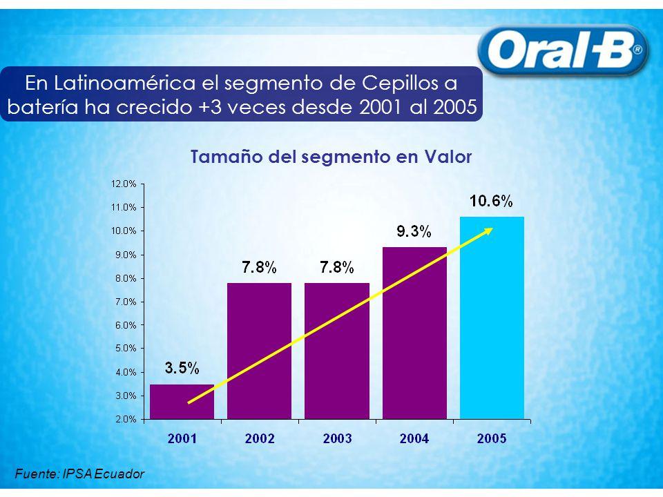 Mercado de Latinoamérica en cepillos a batería por país Participación de mercado en Valor 2005 Fuente: IPSA Ecuador