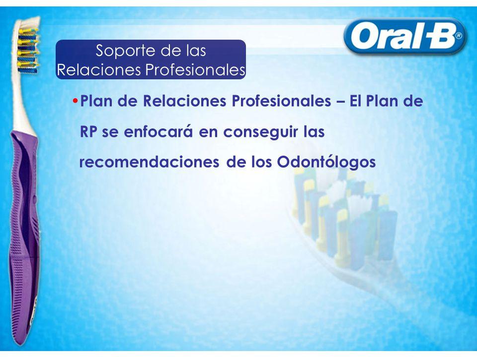 Plan de Relaciones Profesionales – El Plan de RP se enfocará en conseguir las recomendaciones de los Odontólogos Soporte de las Relaciones Profesional