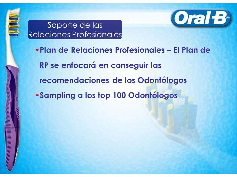 Plan de Relaciones Profesionales – El Plan de RP se enfocará en conseguir las recomendaciones de los Odontólogos Sampling a los top 100 Odontólogos So