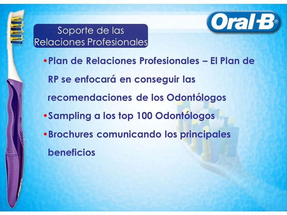 Plan de Relaciones Profesionales – El Plan de RP se enfocará en conseguir las recomendaciones de los Odontólogos Sampling a los top 100 Odontólogos Brochures comunicando los principales beneficios Soporte de las Relaciones Profesionales
