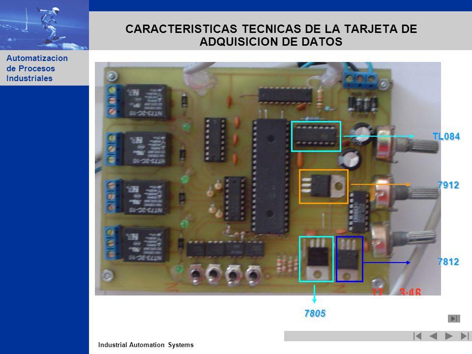 Industrial Automation Systems Automatizacion de Procesos Industriales CARACTERISTICAS TECNICAS DE LA TARJETA DE ADQUISICION DE DATOS TL084 7912 7812 7