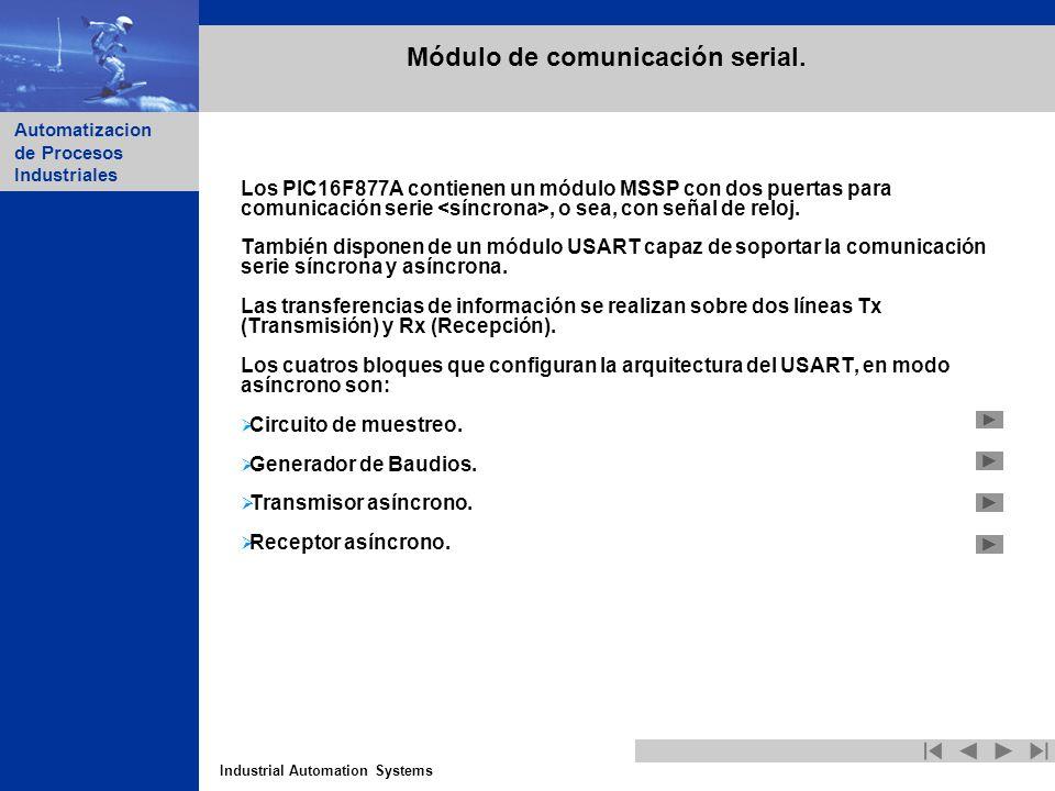 Industrial Automation Systems Automatizacion de Procesos Industriales Módulo de comunicación serial. Los PIC16F877A contienen un módulo MSSP con dos p