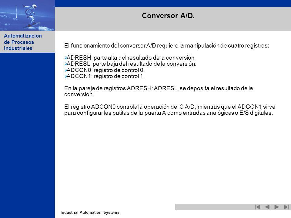 Industrial Automation Systems Automatizacion de Procesos Industriales Conversor A/D. El funcionamiento del conversor A/D requiere la manipulación de c