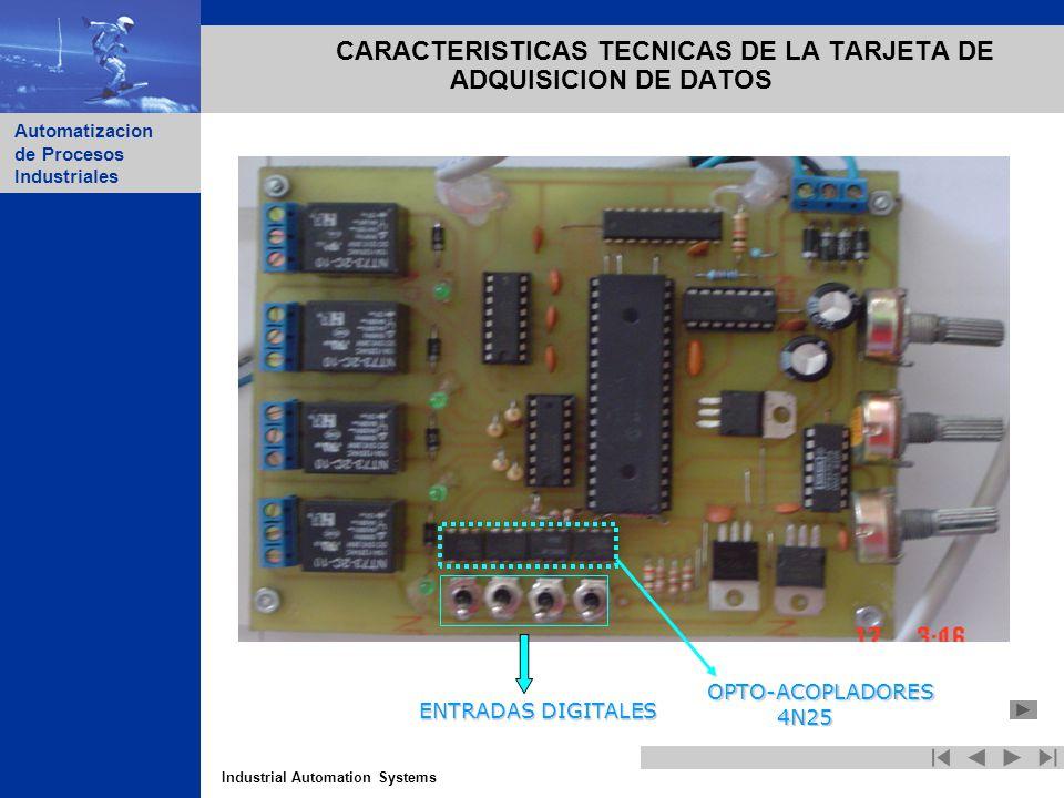 Industrial Automation Systems Automatizacion de Procesos Industriales CARACTERISTICAS TECNICAS DE LA TARJETA DE ADQUISICION DE DATOS ENTRADAS DIGITALE