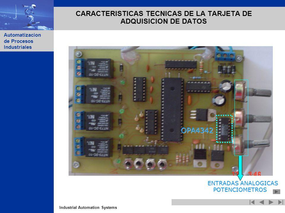 Industrial Automation Systems Automatizacion de Procesos Industriales CARACTERISTICAS TECNICAS DE LA TARJETA DE ADQUISICION DE DATOS ENTRADAS ANALOGIC