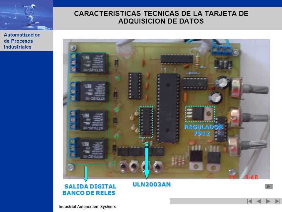 Industrial Automation Systems Automatizacion de Procesos Industriales CARACTERISTICAS TECNICAS DE LA TARJETA DE ADQUISICION DE DATOS SALIDA DIGITAL SA