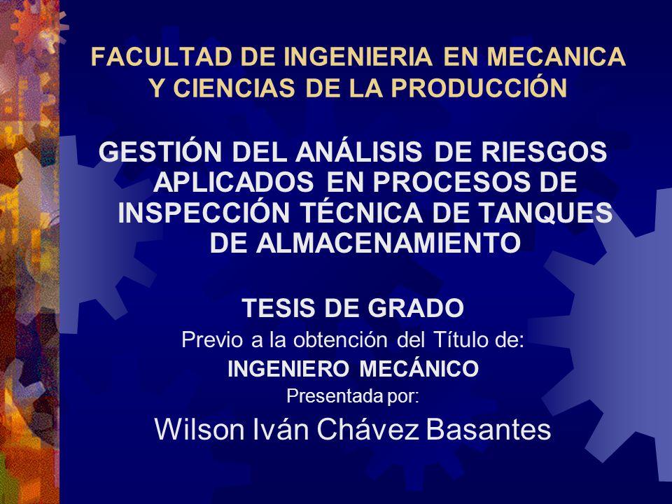 FACULTAD DE INGENIERIA EN MECANICA Y CIENCIAS DE LA PRODUCCIÓN GESTIÓN DEL ANÁLISIS DE RIESGOS APLICADOS EN PROCESOS DE INSPECCIÓN TÉCNICA DE TANQUES