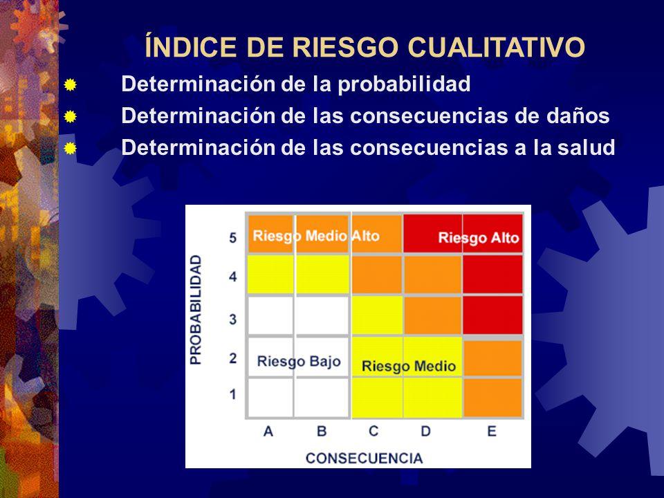 ÍNDICE DE RIESGO CUALITATIVO Determinación de la probabilidad Determinación de las consecuencias de daños Determinación de las consecuencias a la salu