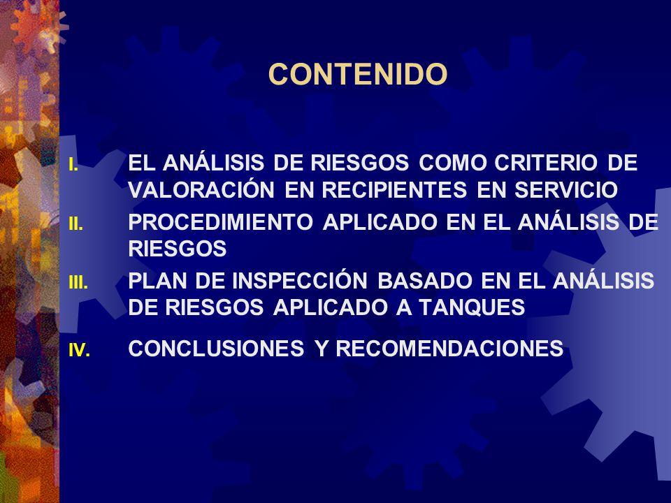 CONTENIDO I. EL ANÁLISIS DE RIESGOS COMO CRITERIO DE VALORACIÓN EN RECIPIENTES EN SERVICIO II. PROCEDIMIENTO APLICADO EN EL ANÁLISIS DE RIESGOS III. P