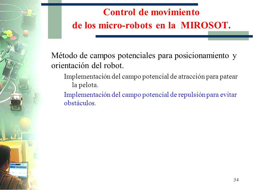 33 Implementación del campo potencial de atracción para patear la pelota Control de movimiento de los micro-robots en la MIROSOT.