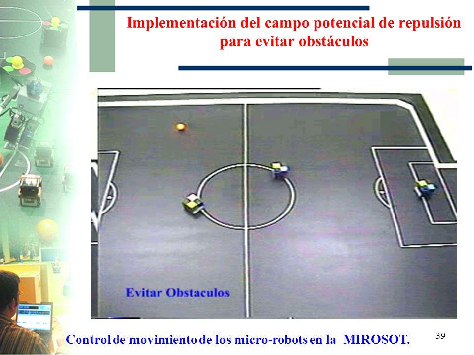 38 Implementación del campo potencial de repulsión para evitar obstáculos Control de movimiento de los micro-robots en la MIROSOT.