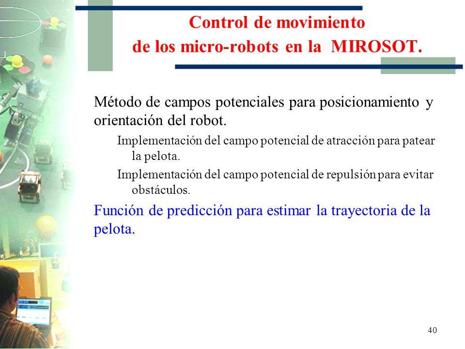 39 Implementación del campo potencial de repulsión para evitar obstáculos Control de movimiento de los micro-robots en la MIROSOT.