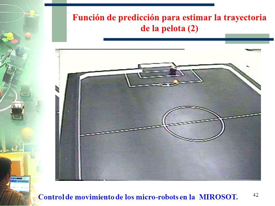 41 Función de predicción para estimar la trayectoria de la pelota (1) Control de movimiento de los micro-robots en la MIROSOT.