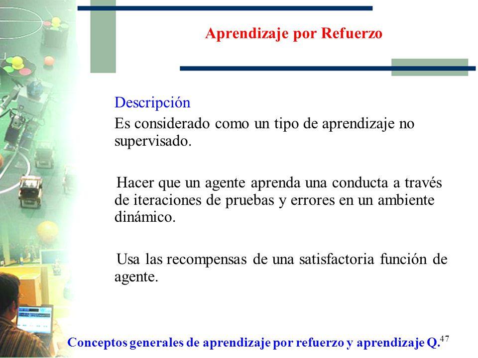 46 Conceptos generales de aprendizaje por refuerzo y aprendizaje Q Aprendizaje por Refuerzo Descripción Modelo de Aprendizaje por Refuerzo Aprendizaje