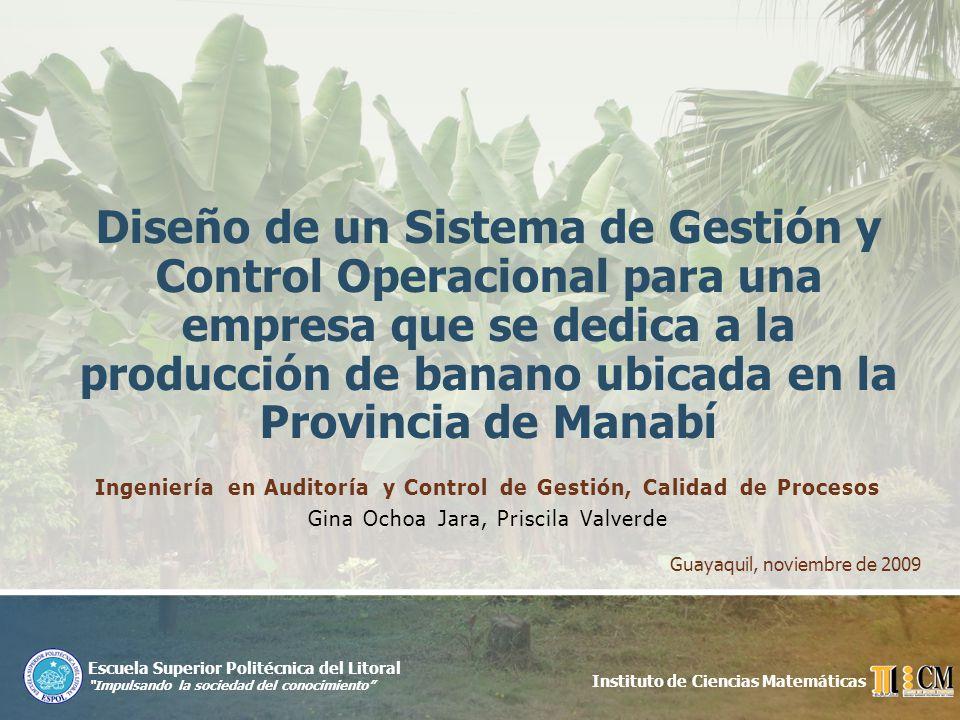 Mantenimiento Planificado Guayaquil, noviembre de 2009Diseño de un Sistema de Gestión y Control Operacional para una empresa de la Provincia de Manabí que se dedica a la producción de banano 12 Plan de Mantenimiento General para los activos por finca.