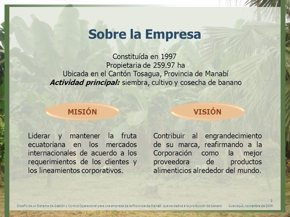 Guayaquil, noviembre de 2009 4 Diseño de un Sistema de Gestión y Control Operacional para una empresa de la Provincia de Manabí que se dedica a la producción de banano