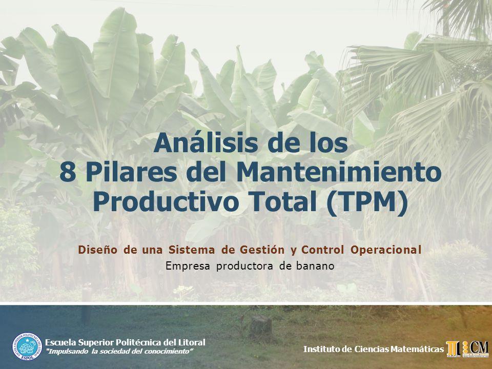 Mejoramiento Continuo Guayaquil, noviembre de 2009Diseño de un Sistema de Gestión y Control Operacional para una empresa de la Provincia de Manabí que se dedica a la producción de banano 9 Control a través del cumplimiento del plan de mantenimiento para cada uno de los equipos críticos, la cual se realiza en un 80%.