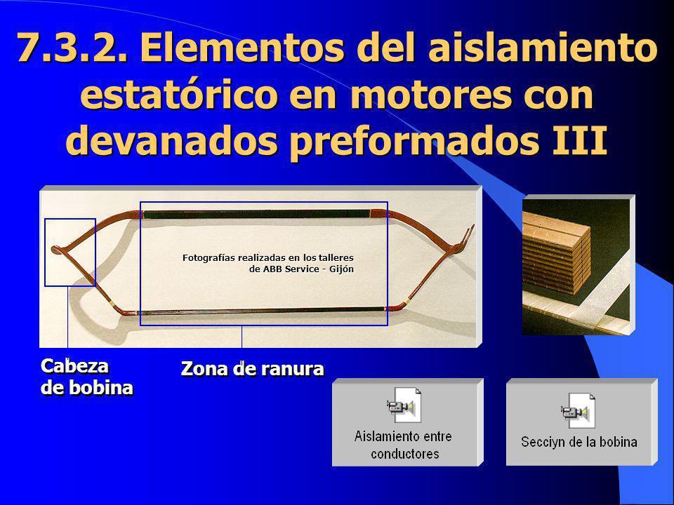 Zona de ranura Cabeza de bobina Cabeza de bobina 7.3.2. Elementos del aislamiento estatórico en motores con devanados preformados III Fotografías real