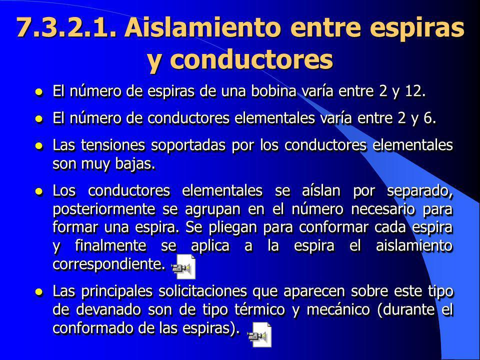 l El número de espiras de una bobina varía entre 2 y 12. l El número de conductores elementales varía entre 2 y 6. l Las tensiones soportadas por los