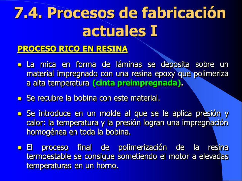 7.4. Procesos de fabricación actuales I PROCESO RICO EN RESINA l La mica en forma de láminas se deposita sobre un material impregnado con una resina e