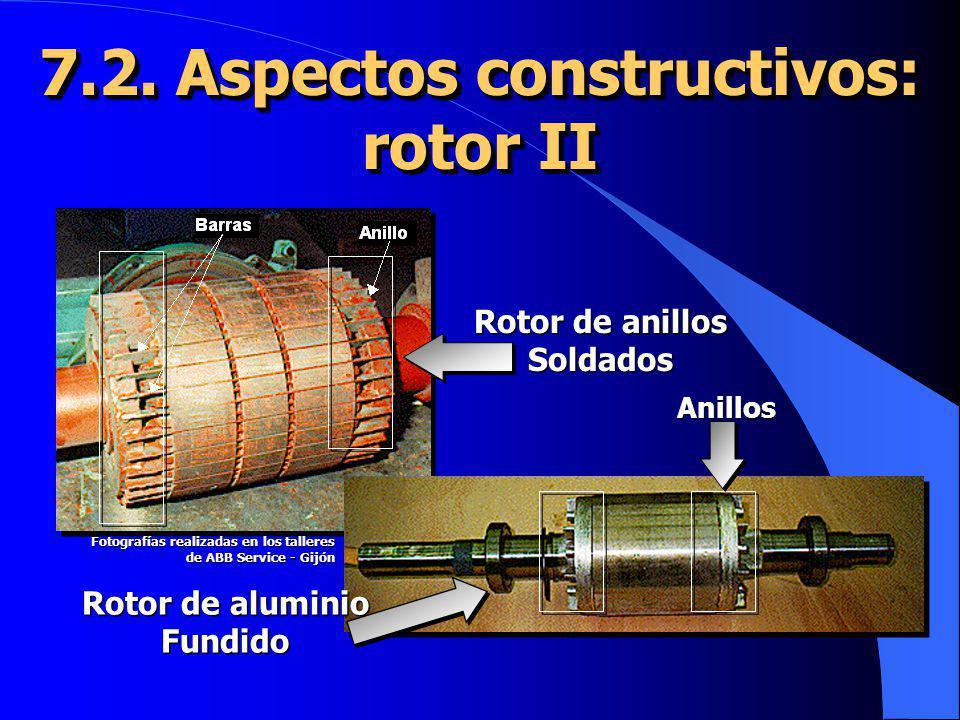 Rotor de aluminio Fundido Rotor de anillos Soldados 7.2. Aspectos constructivos: rotor II Anillos Fotografías realizadas en los talleres de ABB Servic