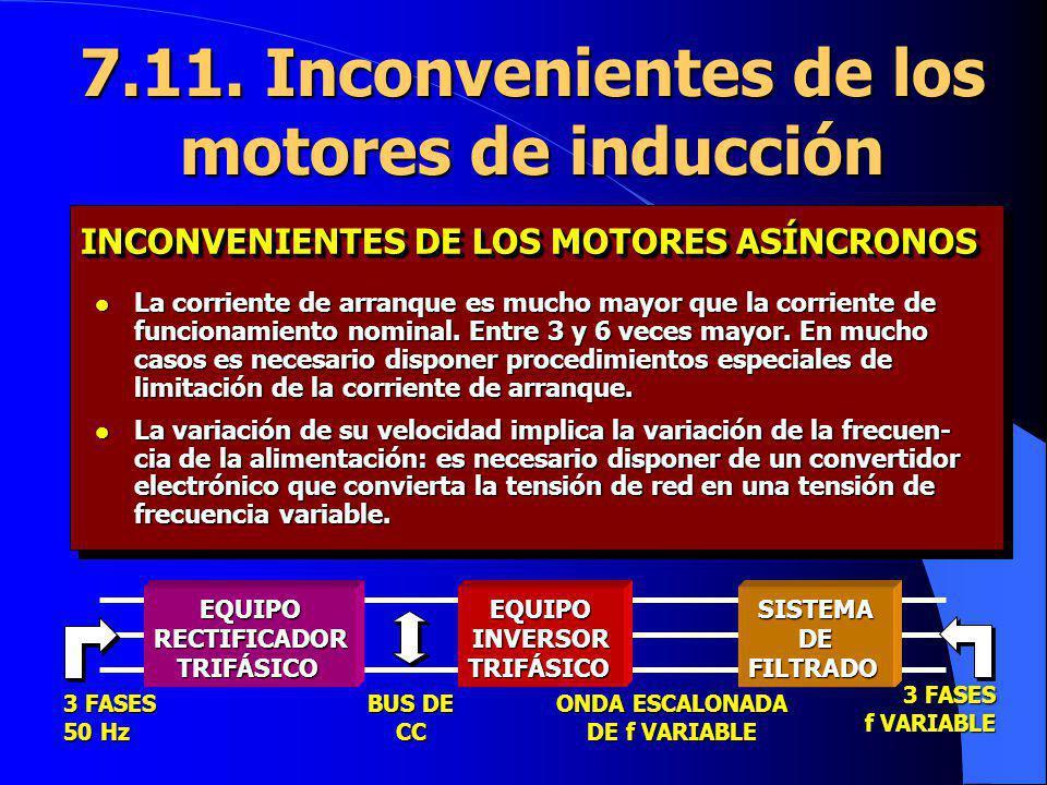 7.11. Inconvenientes de los motores de inducción l La corriente de arranque es mucho mayor que la corriente de funcionamiento nominal. Entre 3 y 6 vec