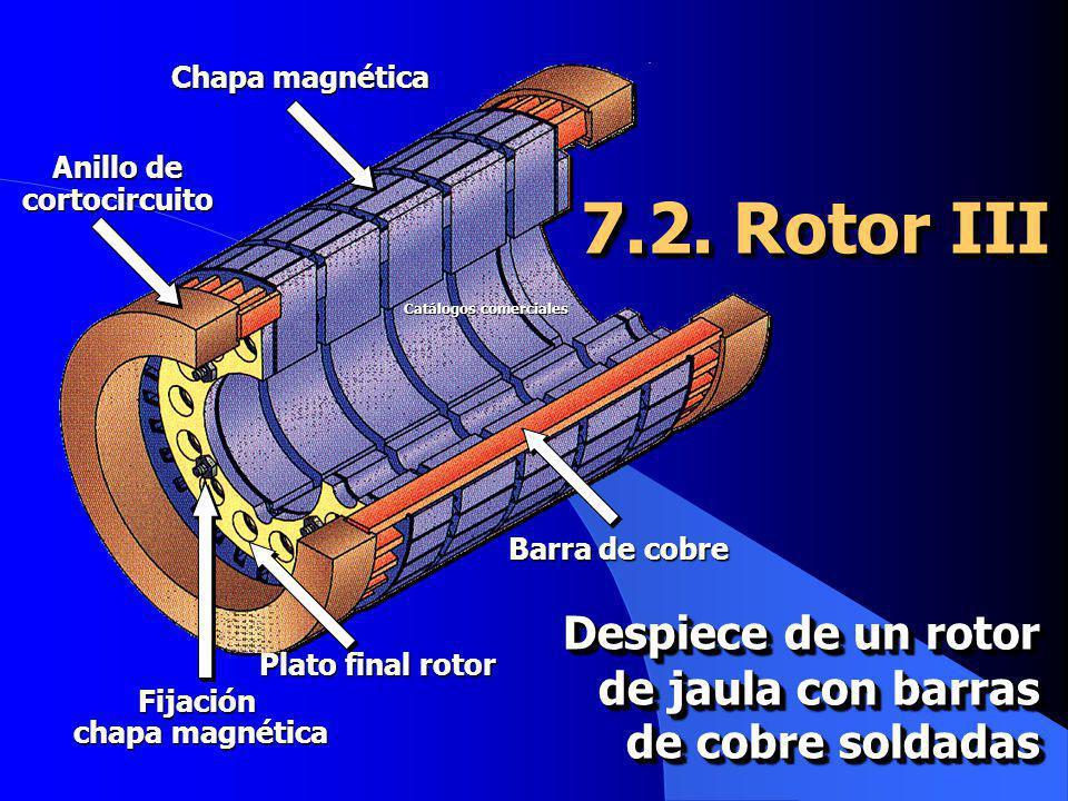 7.2. Rotor III Chapa magnética Barra de cobre Plato final rotor Fijación chapa magnética Anillo de cortocircuito Despiece de un rotor de jaula con bar