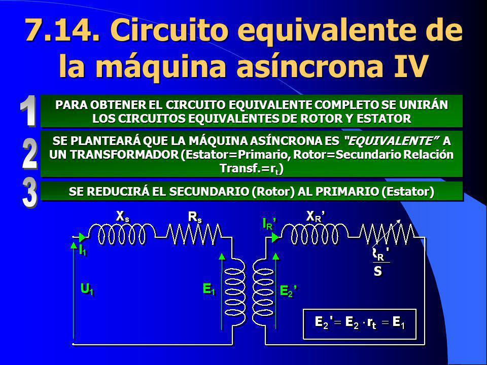 7.14. Circuito equivalente de la máquina asíncrona IV PARA OBTENER EL CIRCUITO EQUIVALENTE COMPLETO SE UNIRÁN LOS CIRCUITOS EQUIVALENTES DE ROTOR Y ES