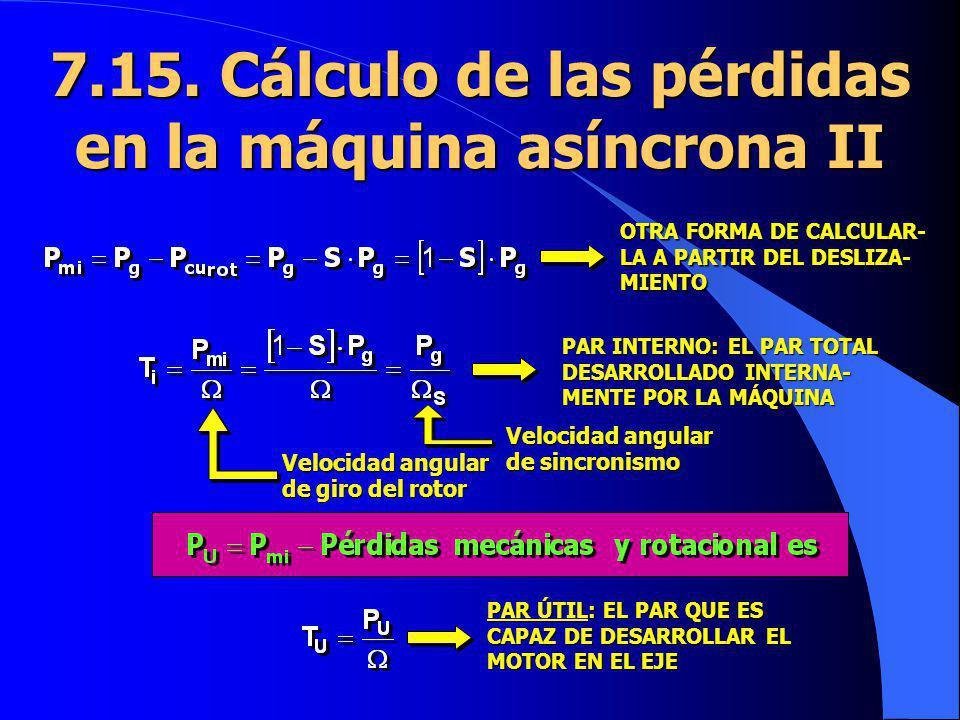 7.15. Cálculo de las pérdidas en la máquina asíncrona II OTRA FORMA DE CALCULAR- LA A PARTIR DEL DESLIZA- MIENTO PAR INTERNO: EL PAR TOTAL DESARROLLAD