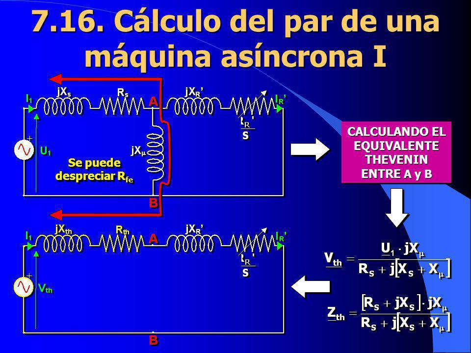 7.16. Cálculo del par de una máquina asíncrona I CALCULANDO EL EQUIVALENTE THEVENIN ENTRE A y B Se puede despreciar R fe