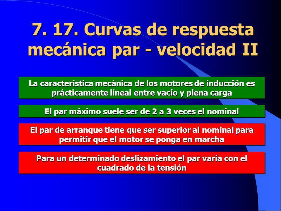 7. 17. Curvas de respuesta mecánica par - velocidad II La característica mecánica de los motores de inducción es prácticamente lineal entre vacío y pl