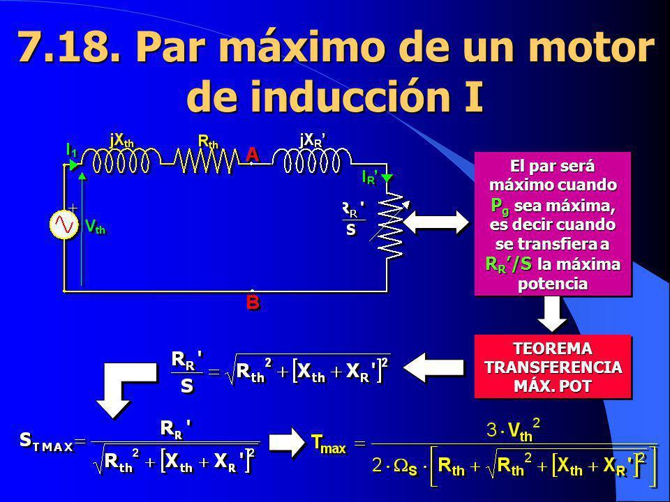 7.18. Par máximo de un motor de inducción I El par será máximo cuando P g sea máxima, es decir cuando se transfiera a R R /S la máxima potencia TEOREM