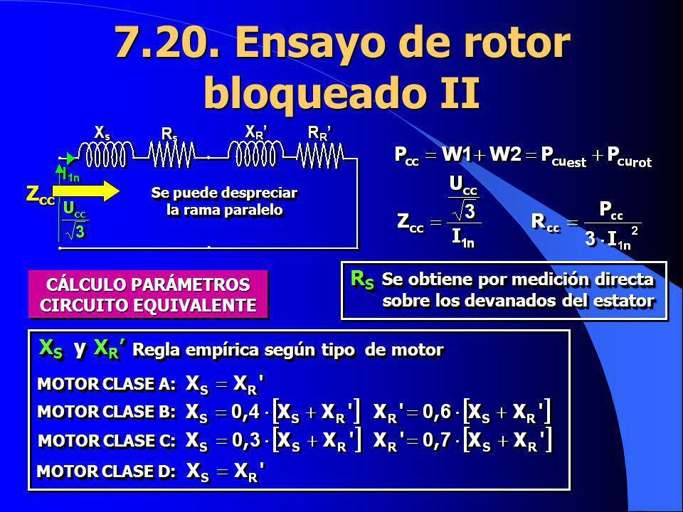 7.20. Ensayo de rotor bloqueado II Se puede despreciar la rama paralelo Z cc CÁLCULO PARÁMETROS CIRCUITO EQUIVALENTE X S y X R X S y X R Regla empíric