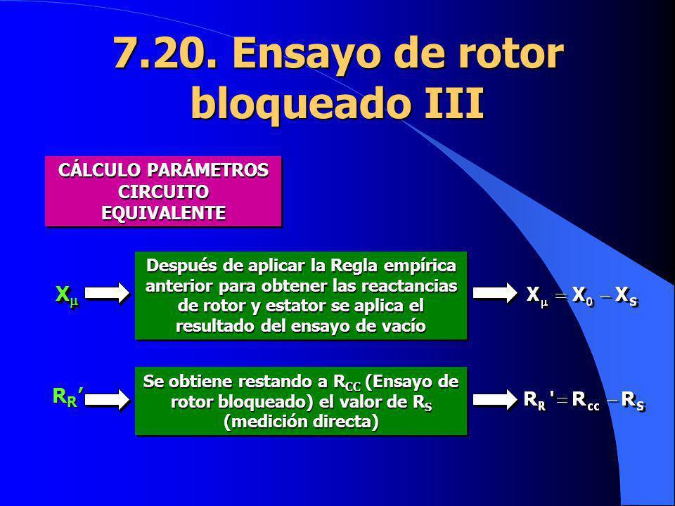 CÁLCULO PARÁMETROS CIRCUITO EQUIVALENTE 7.20. Ensayo de rotor bloqueado III X X Después de aplicar la Regla empírica anterior para obtener las reactan