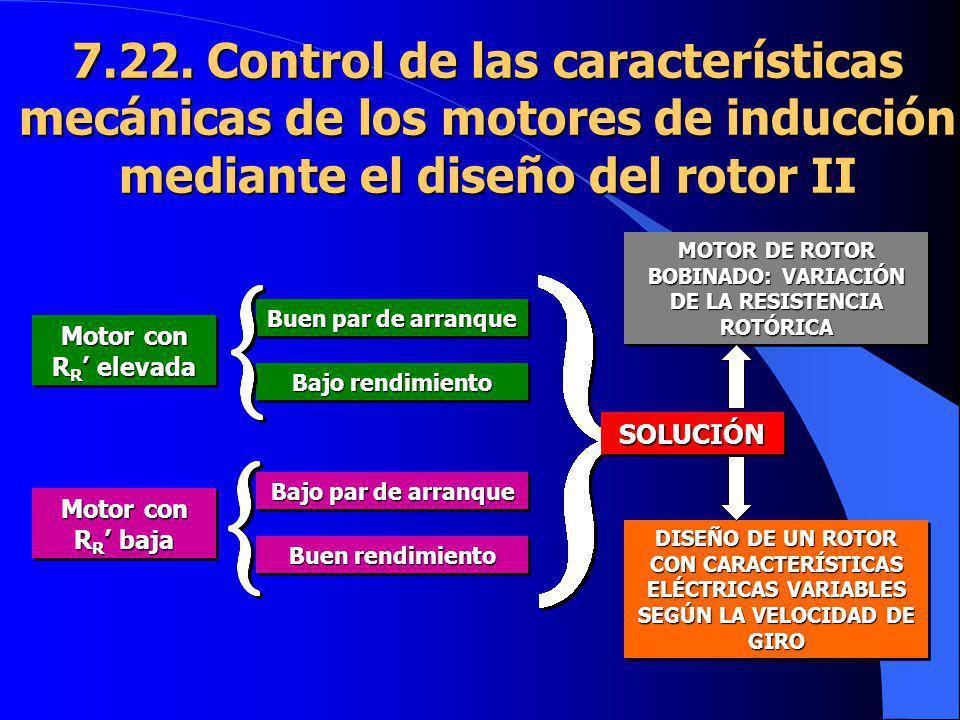 7.22. Control de las características mecánicas de los motores de inducción mediante el diseño del rotor II Motor con R R elevada Motor con R R baja Bu