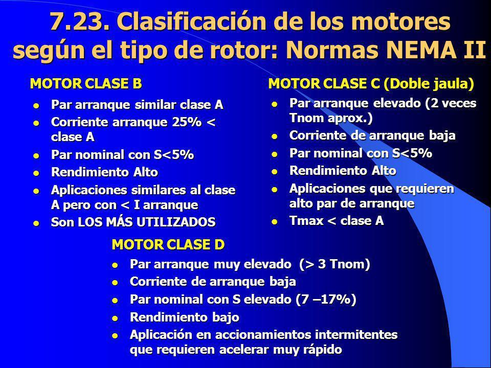 l Par arranque similar clase A l Corriente arranque 25% < clase A l Par nominal con S<5% l Rendimiento Alto l Aplicaciones similares al clase A pero c