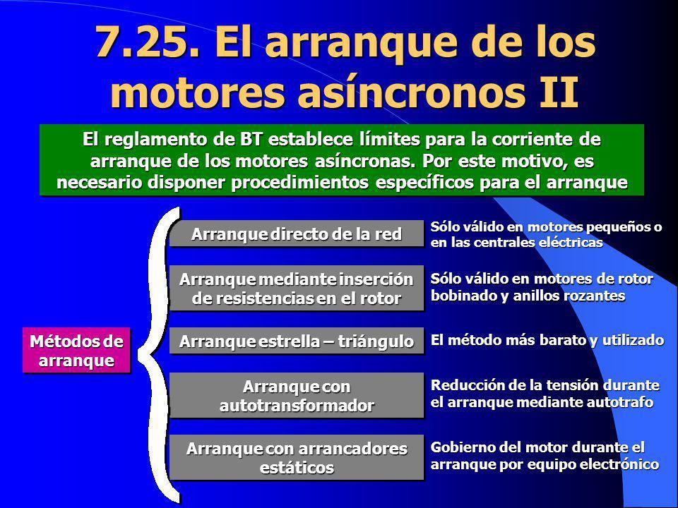 7.25. El arranque de los motores asíncronos II El reglamento de BT establece límites para la corriente de arranque de los motores asíncronas. Por este