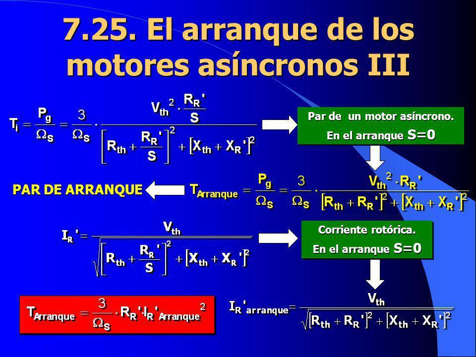 7.25. El arranque de los motores asíncronos III PAR DE ARRANQUE Par de un motor asíncrono. En el arranque S=0 Par de un motor asíncrono. En el arranqu