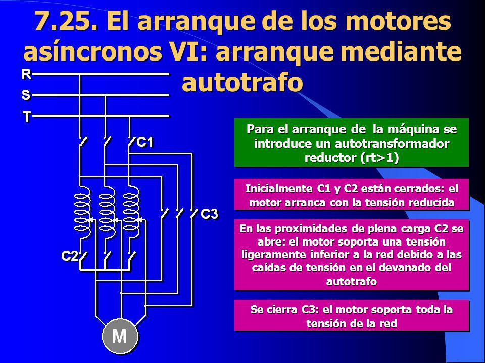 7.25. El arranque de los motores asíncronos VI: arranque mediante autotrafo Para el arranque de la máquina se introduce un autotransformador reductor