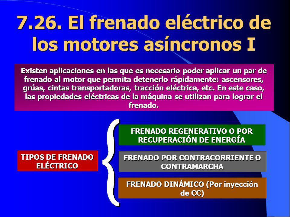 7.26. El frenado eléctrico de los motores asíncronos I Existen aplicaciones en las que es necesario poder aplicar un par de frenado al motor que permi