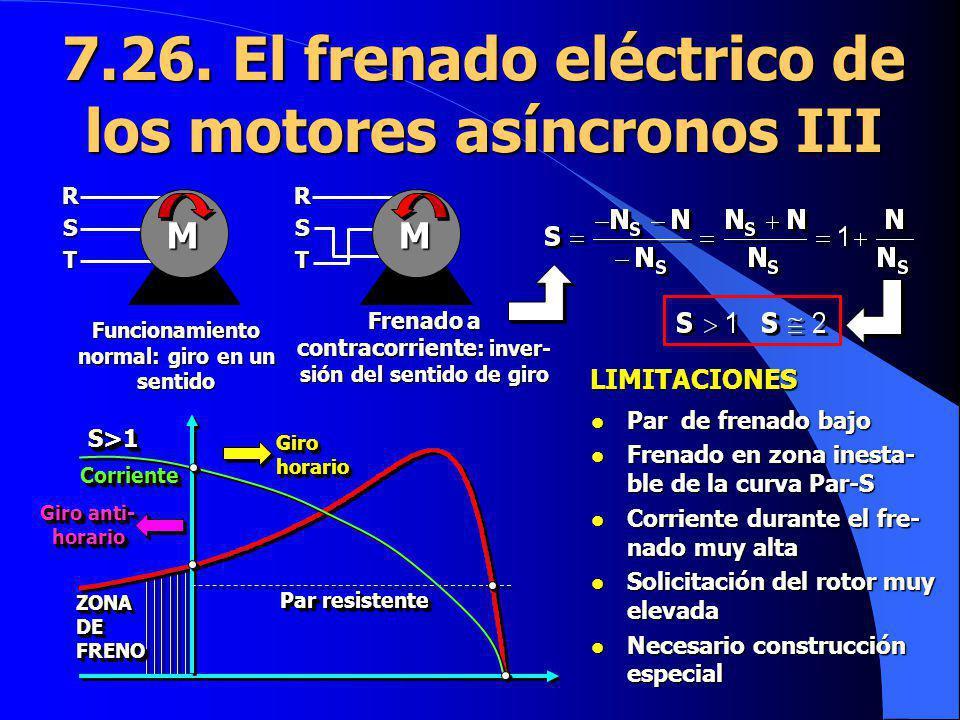 7.26. El frenado eléctrico de los motores asíncronos III MRS T MRS T Funcionamiento normal: giro en un sentido Frenado a contracorriente : inver- sión