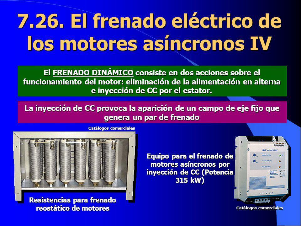 7.26. El frenado eléctrico de los motores asíncronos IV El FRENADO DINÁMICO consiste en dos acciones sobre el funcionamiento del motor: eliminación de