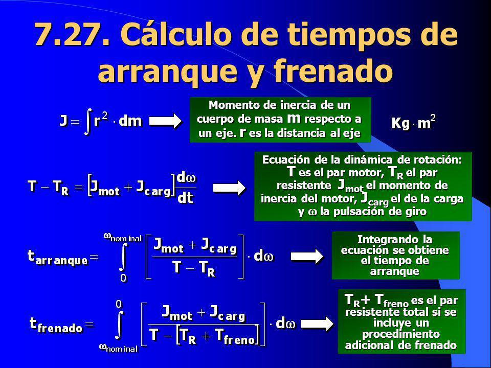 7.27. Cálculo de tiempos de arranque y frenado Momento de inercia de un cuerpo de masa m respecto a un eje. r es la distancia al eje Ecuación de la di