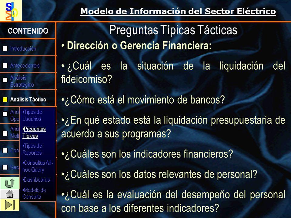 Modelo de Información del Sector Eléctrico CONTENIDO Antecedentes Análisis Estratégico Análisis Táctico Análisis Operativo Análisis Multidimensional C
