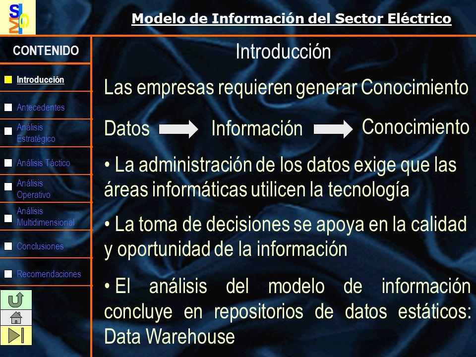 Modelo de Información del Sector Eléctrico CONTENIDO Antecedentes Análisis Estratégico Análisis Táctico Análisis Operativo Análisis Multidimensional Conclusiones Recomendaciones Introducción Recomendaciones 3.- Con la convicción que un data warehouse no es un producto que se compra en el mercado, sino que es una filosofía o concepto corporativo que debe ser construido, se deberá también en las empresas, planificar y ejecutar un proceso de capacitación tendiente a lograr el convencimiento general y con ello, el compromiso institucional para asumir este nuevo concepto.
