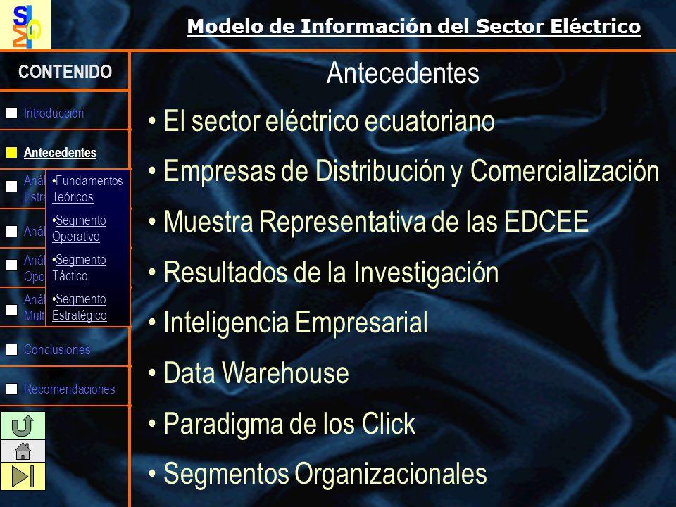 Modelo de Información del Sector Eléctrico CONTENIDO Antecedentes Análisis Estratégico Análisis Táctico Análisis Operativo Análisis Multidimensional Conclusiones Recomendaciones Introducción Fundamentos Teóricos Segmento Operativo Segmento Táctico Segmento Estratégico INTELIGENCIA EMPRESARIAL: Inteligencia de Negocios o Business Intelligence (BI) Es el conjunto de estrategias y herramientas enfocadas en la administración y creación de conocimiento mediante el análisis de datos existentes en una organización o empresa.