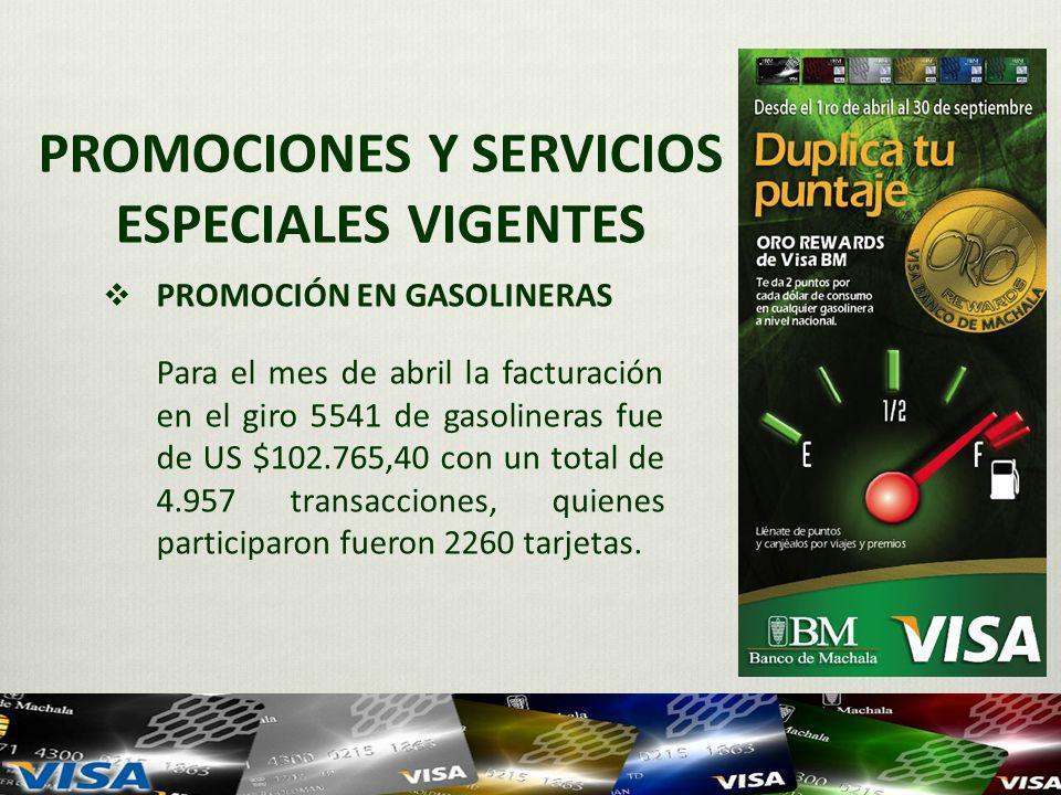 PROMOCIONES Y SERVICIOS ESPECIALES VIGENTES PROMOCIÓN EN GASOLINERAS Para el mes de abril la facturación en el giro 5541 de gasolineras fue de US $102.765,40 con un total de 4.957 transacciones, quienes participaron fueron 2260 tarjetas.