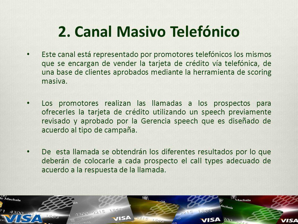 2. Canal Masivo Telefónico Este canal está representado por promotores telefónicos los mismos que se encargan de vender la tarjeta de crédito vía tele